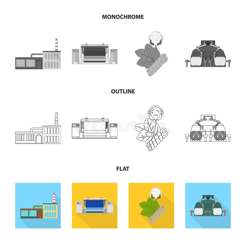 Factory, enterprise, buildings and other web icon in flat,outline,monochrome style. Textile, industry, fabric icons in stock illustration