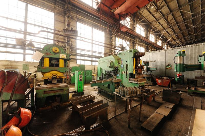 Factory or factory interior. Interior of industrial or metallurgical plant.Interior, factory, modern royalty free stock images