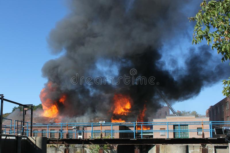 Factory Fire stock photography