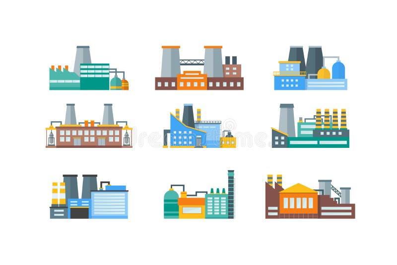 Factory Flat Set. Vector royalty free illustration