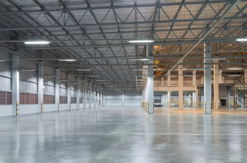 Factory floor background. Empty factory building or warehouse building with concrete floor for industry background royalty free stock images