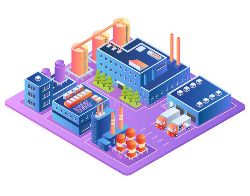 Factory, Fuel Industry, Refinery Plant Buildings royalty free illustration