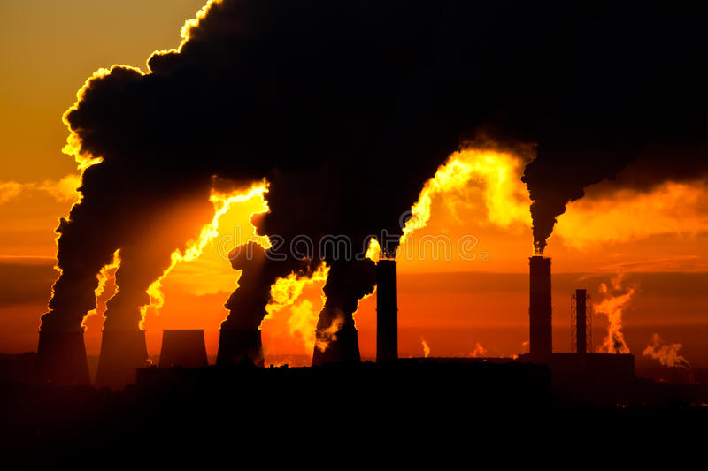 Factory of heat engineering chimney royalty free stock photos