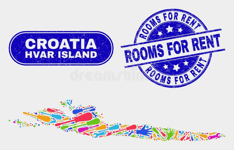 Factory Hvar Island Map and Scratched Rooms for Rent Stamps. Tools Hvar Island map and blue Rooms for Rent grunge watermark. Colored vector Hvar Island map royalty free illustration