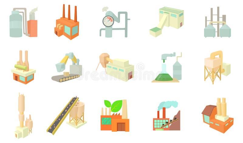 Factory icon set, cartoon style stock illustration