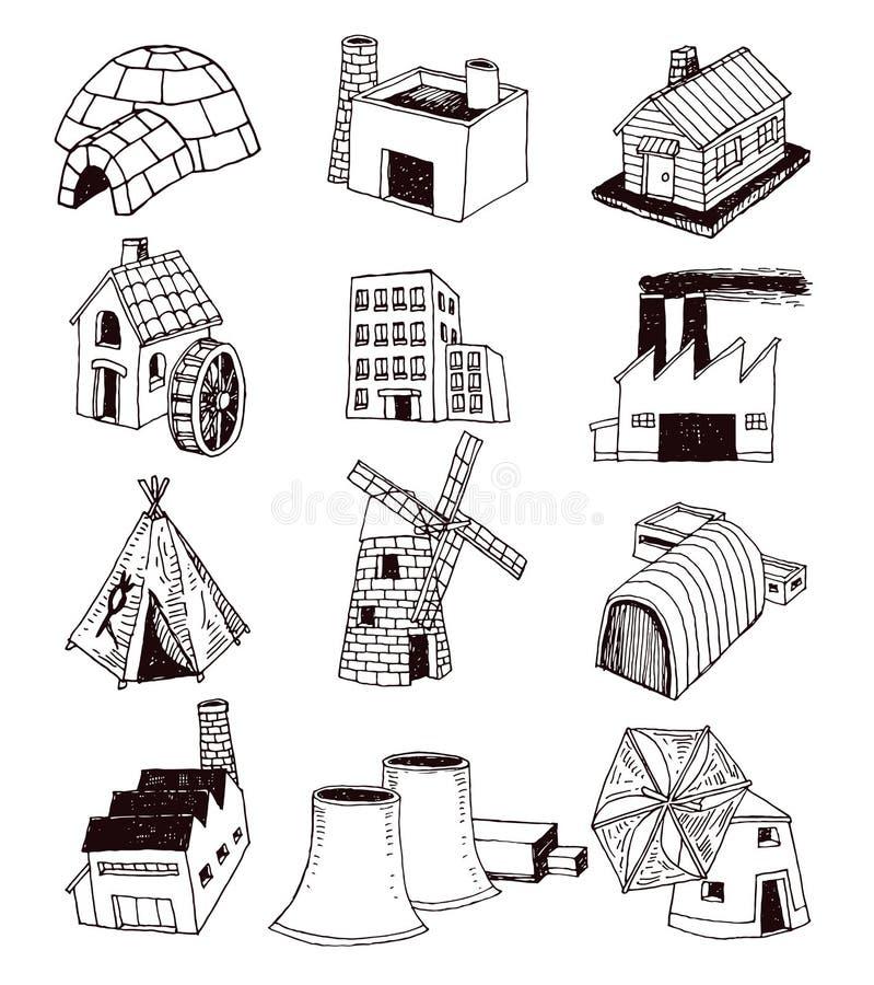 factory icons set. Vector illustration royalty free illustration