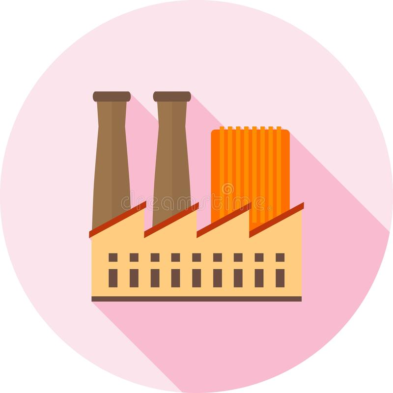 Factory III. Factory, building, plant icon vector image. Can also be used for Industrial Process. Suitable for mobile apps, web apps and print media royalty free illustration