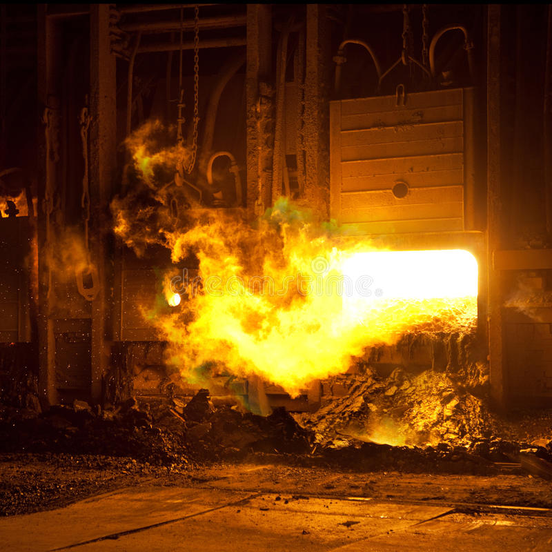 Factory incinerator flames stock images