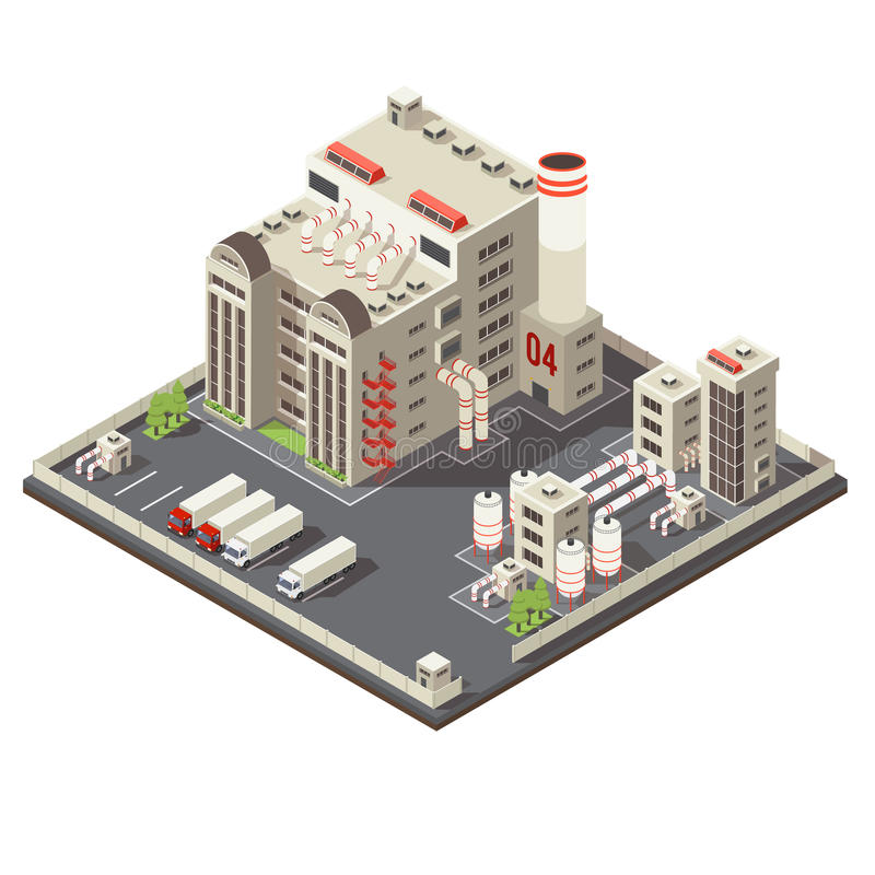 Factory Industrial Area Isometric. Colored 3d factory industrial area isometric with modern urban construction on piece of land vector illustration stock illustration