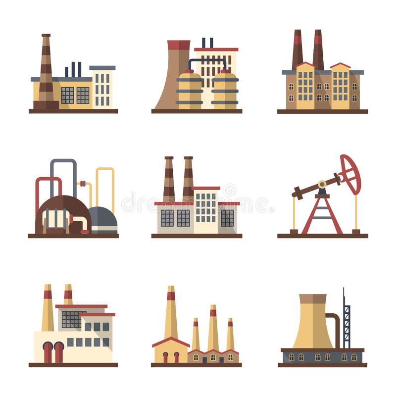 Factory industrial building and manufacturing plants vector flat icons stock illustration