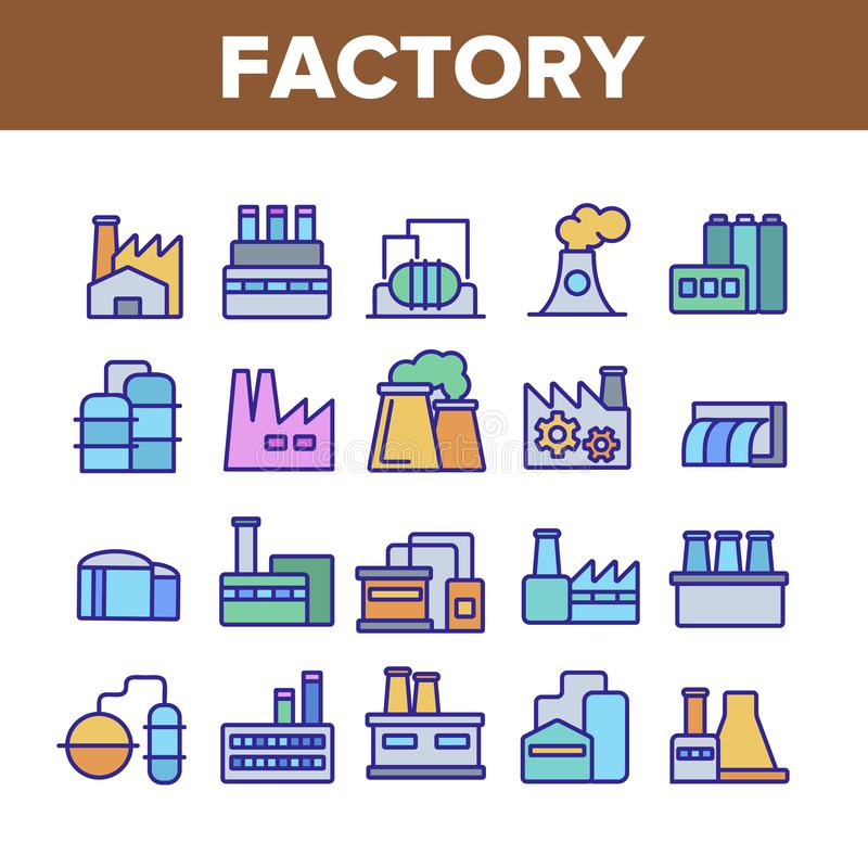 Factory Industrial Collection Icons Set Vector stock illustration