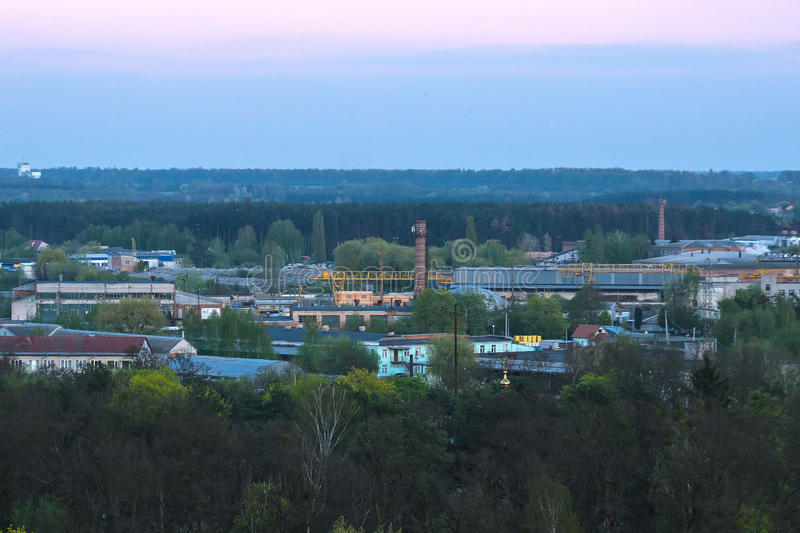 Factory, Industrial plant. In the evening sky stock image