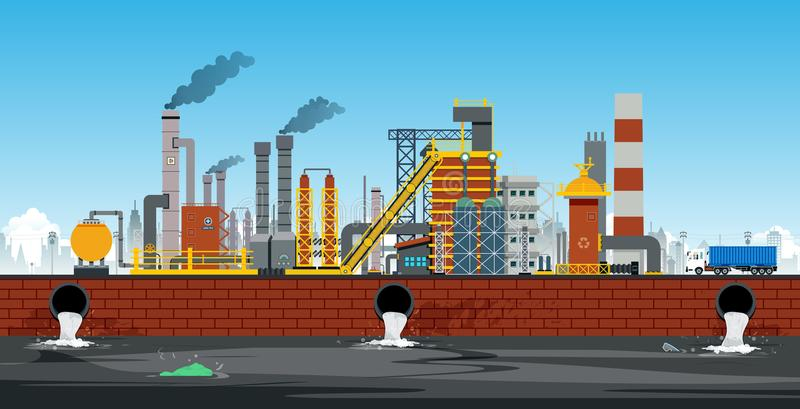 Industrial area. Factory in industrial zone with drainage system royalty free illustration
