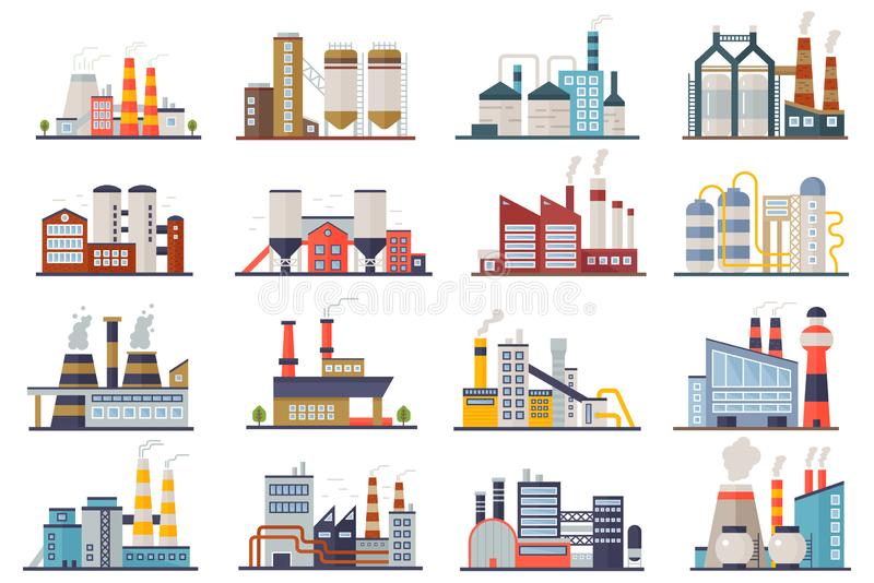 Factory industry manufactory power electricity buildings flat icons set isolated. Urban factory plant landscape vector royalty free illustration