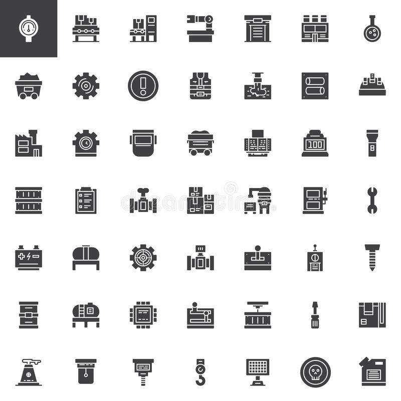 Factory universal vector icons set vector illustration