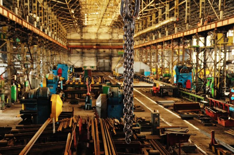 Factory or factory interior. Interior of industrial or metallurgical plant.Interior, factory, modern royalty free stock photo