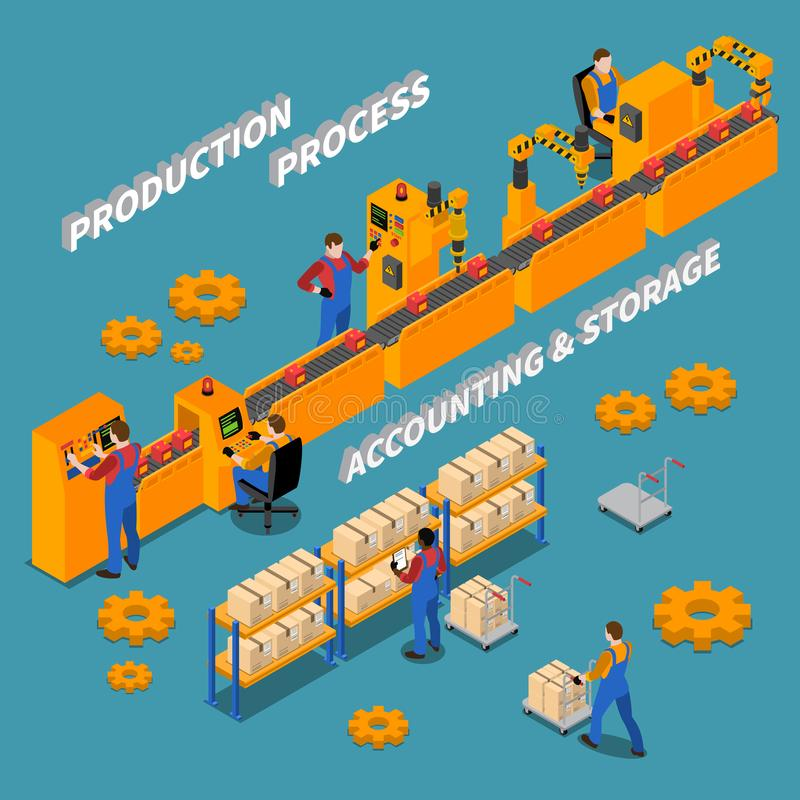 Factory Isometric Background. With workers at their workplace on conveyor and in storage of production vector Illustration vector illustration