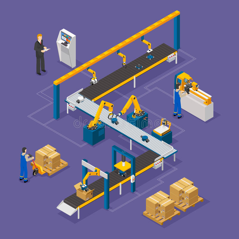 Factory Isometric Composition. Factory composition with conveyor line on green background isometric vector illustration vector illustration