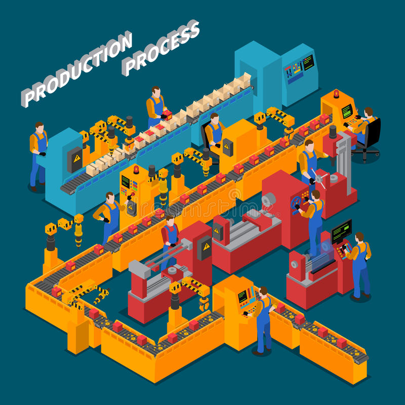 Factory Isometric Composition. With production process symbols on blue background vector illustration stock illustration