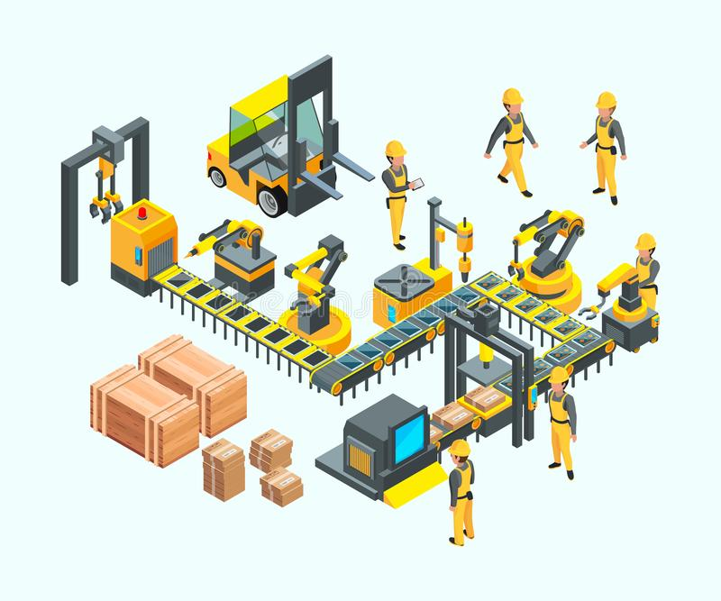 Factory isometric. Industrial machinery production electronics technology manufacturing vector concept of factory. Illustration isometric production, factory royalty free illustration