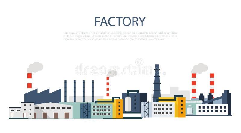 Factory Landscape. Vector flat illustration. royalty free illustration