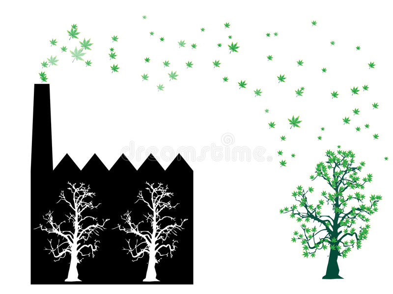 Factory of leaves smoke stock illustration