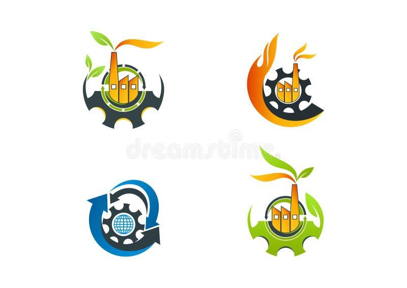 Factory logo, leaf machine manufacture symbol, arrow process eco friendly concept design. Factory logo, leaf machine manufacture symbol and arrow process eco vector illustration