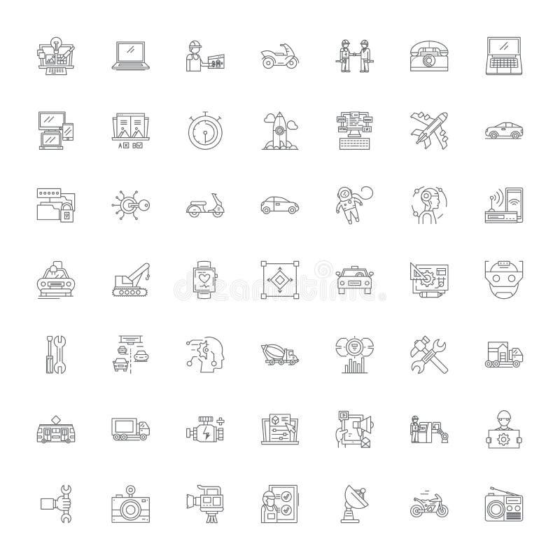 Factory management linear icons, signs, symbols vector line illustration set stock illustration