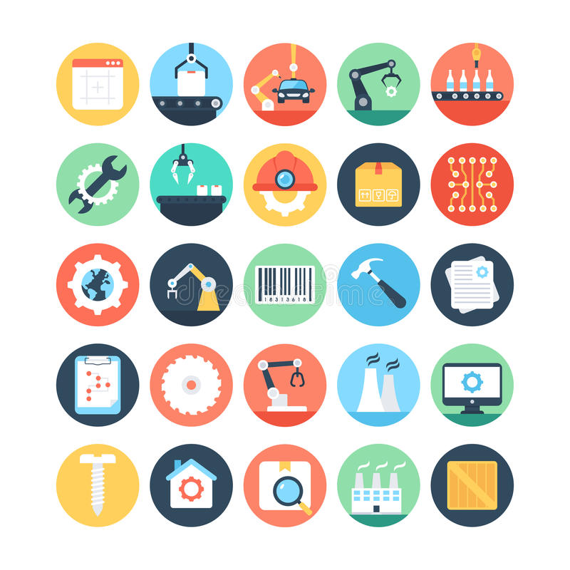 Factory Manufacturing Production Vector Icons 2. Set of Factory Manufacturing Production Vector Icons for your business projects, manual use publications or royalty free illustration