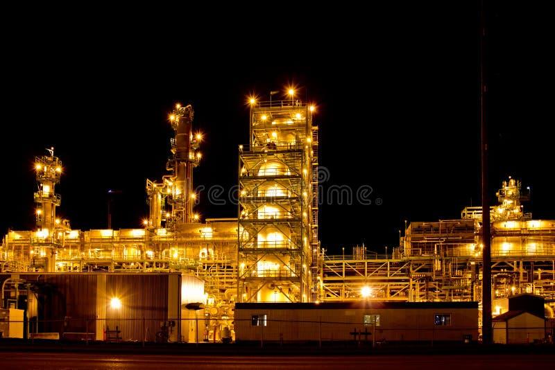 Factory at night stock photo