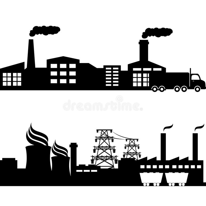 Factory, Nuclear Plant Industrial Buildings Royalty Free Stock Images
