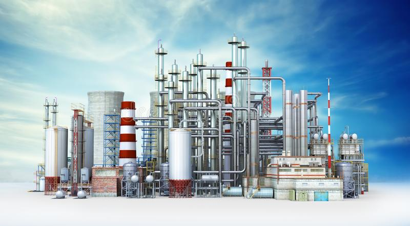 Factory Outside Isolated on sky background vector illustration