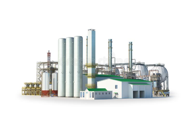Factory outside Isolated on white background. 3d illustration stock illustration