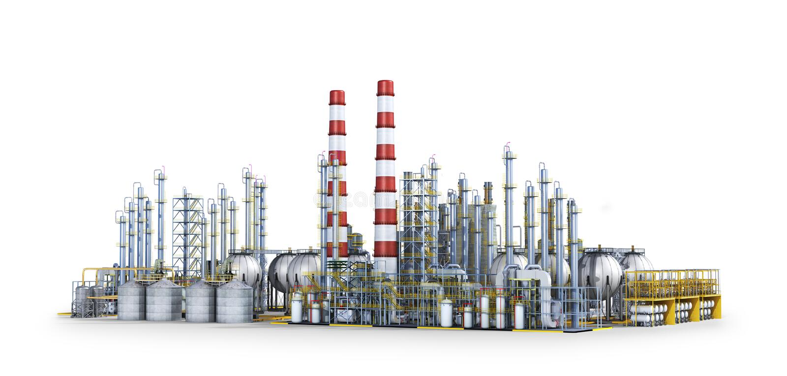 . Factory outside  on white background. 3d illustration. Oil refinery. Factory outside  on white background. 3d illustration vector illustration