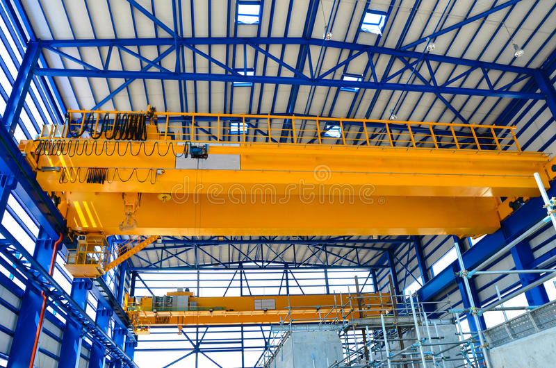 Factory overhead crane royalty free stock photography