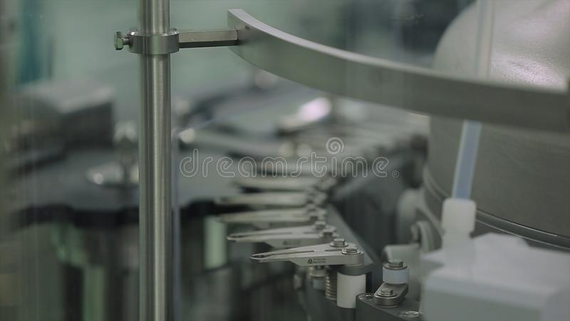 Factory with pharmaceutical equipment mixing tank on production line in pharmacy industry manufacture factory. Pharmaceutical technology equipment facility for royalty free stock image
