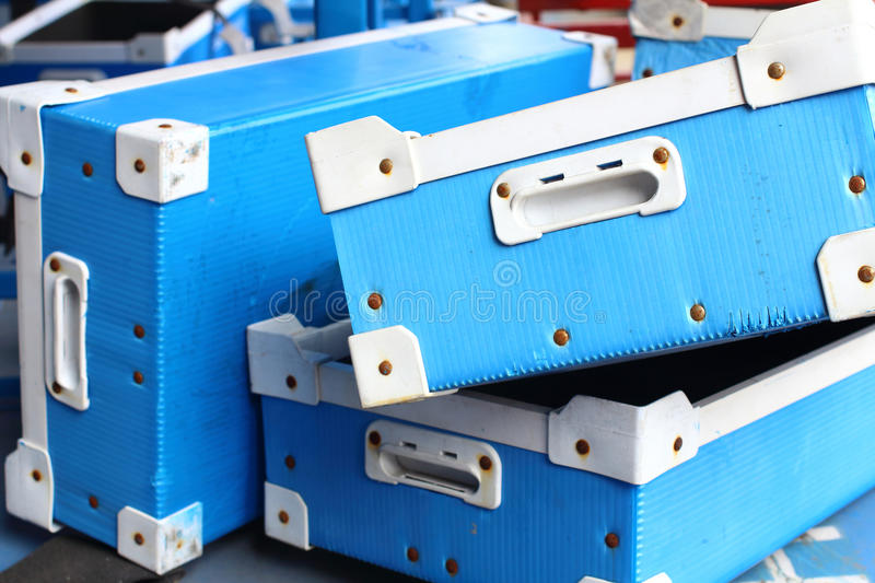Factory plastic box. Plastic tray industrail equipment for spare parts stock image