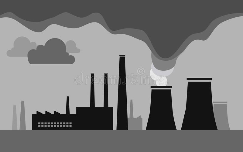 Factory pollution illustration stock illustration