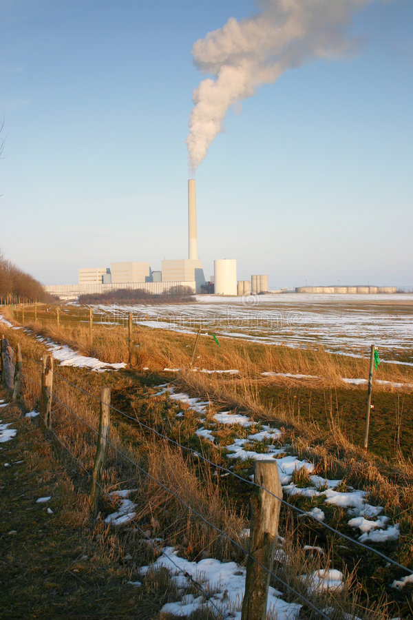 Factory pollution landscape royalty free stock photos