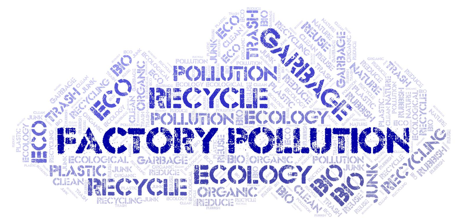 Factory Pollution word cloud. Wordcloud made with text only stock photo