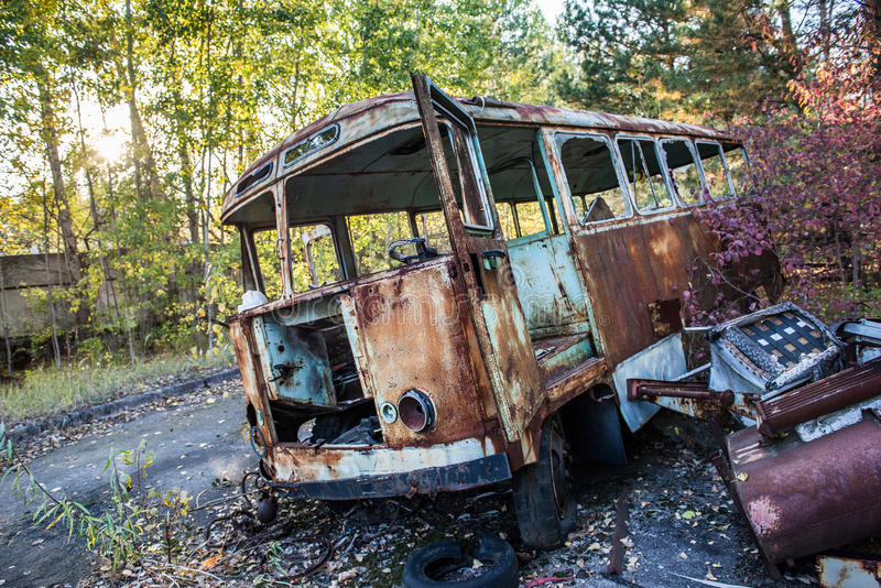 Factory in Pripyat. Rusty bus in Jupiter Factory in Pripyat ghost town, Chernobyl Nuclear Power Plant Zone of Alienation, Ukraine royalty free stock photos