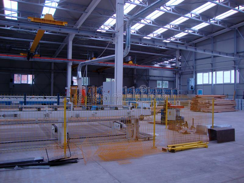 Factory production beams stock photo