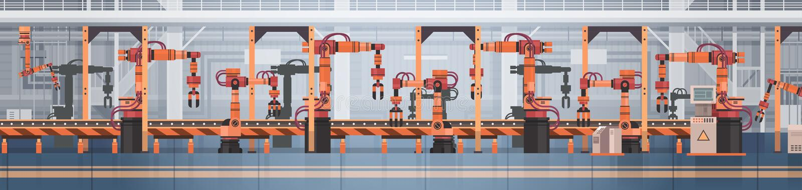 Factory Production Conveyor Automatic Assembly Line Machinery Industrial Automation Industry Concept stock illustration