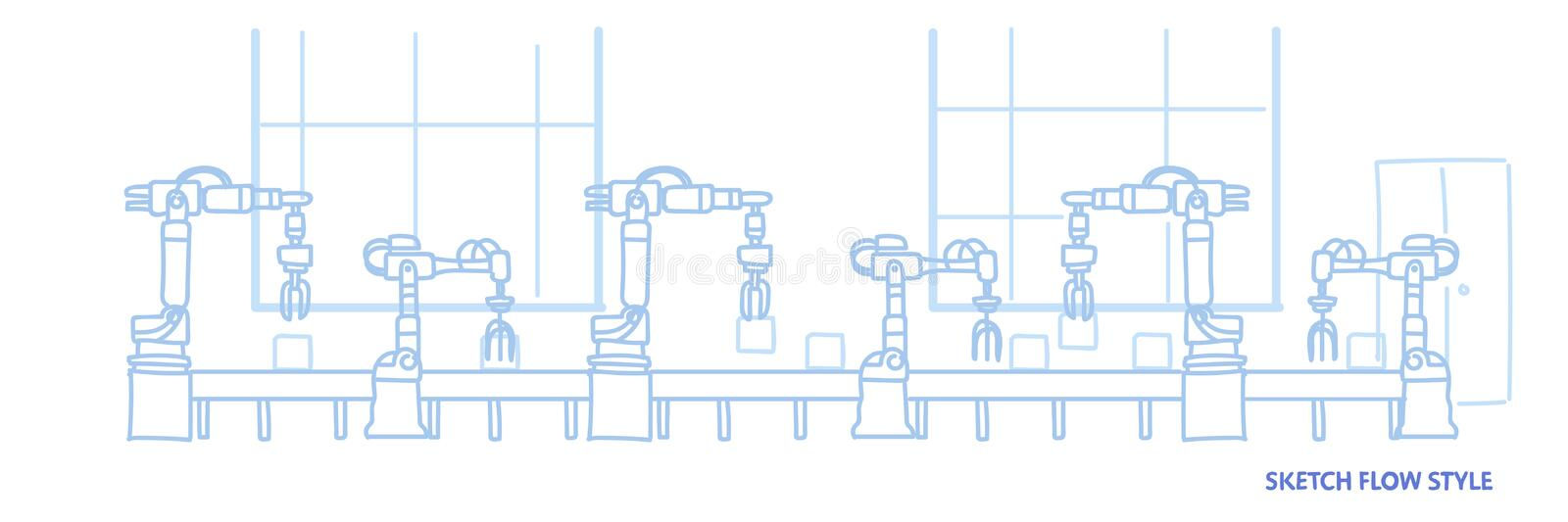 Factory production conveyor automatic assembly line machinery industrial automation industry concept sketch flow style. Horizontal vector illustration royalty free illustration