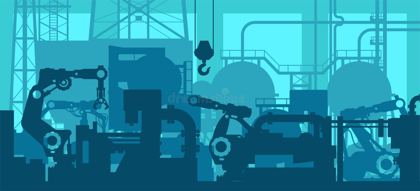 Factory production line - industrial plant shop interior, manufacturing engineering tool silhouettes royalty free illustration
