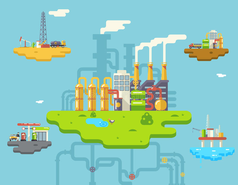 Factory Refinery Plant Manufacturing Products royalty free illustration