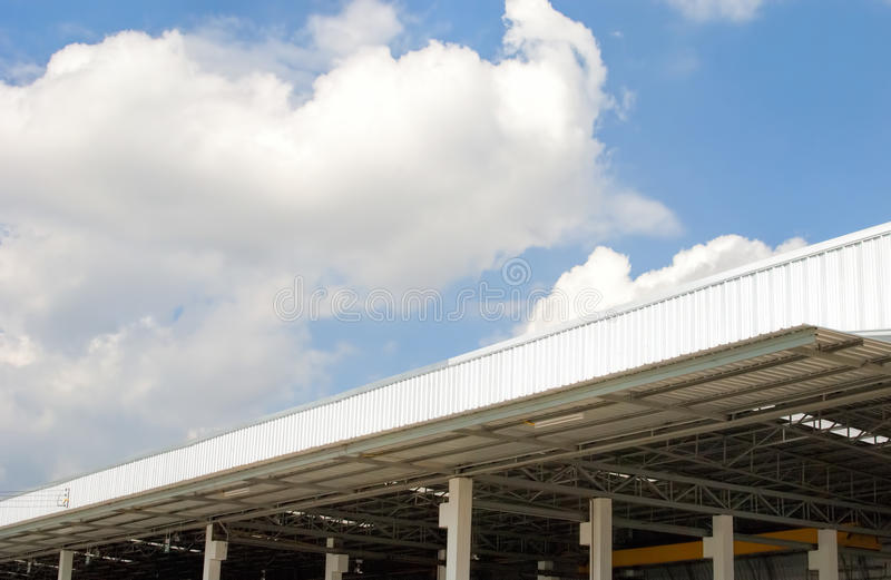 Factory roof. And blue sky stock photo