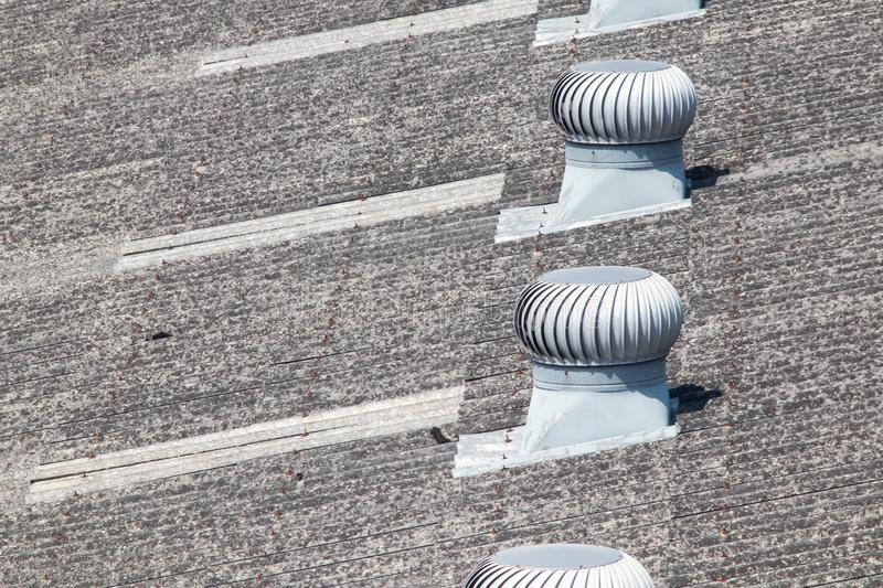 Factory roof ventilation fan system royalty free stock photography