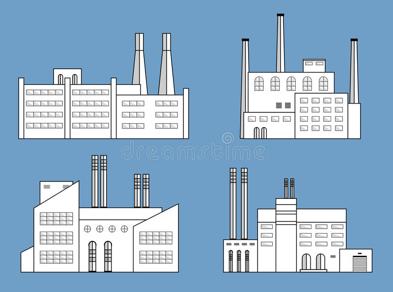 Factory set isolated. Factory set isolated on blue background. Factory icon in the flat style. Industrial factory building. Manufacturing power factory building