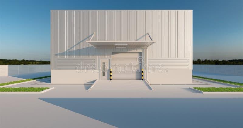 Factory and shutter door. 3D rendering of factory building and shutter door for industrial background stock illustration